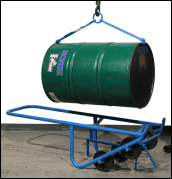 Use drum truck to position drum horizontally for lifting