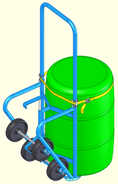 4-Wheel Drum Truck shown with Clamp-On Strap Kit to handle a rimless plastic drum