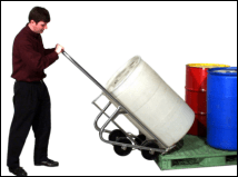 Move drum onto and off pallet with stainless steel drum truck