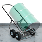 Stainless Steel Drum Truck with inflated tires for rough terrain