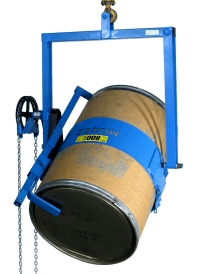 Below-hook drum carrier with Bracket Assembly Option for rimless plastic drum, or more securely handle fiber / cardboard drum.