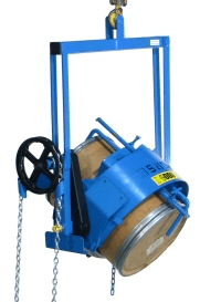 Below-hook drum carrier with Diameter Adaptor for smaller drum