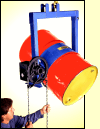 Below hook drum handler to lift and pour drum up to 200 Lb.