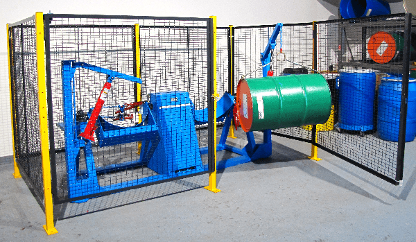 Double End-Over-End Drum Tumbler with Optional Load Cranes and Guard Enclosure with Safety Interlock