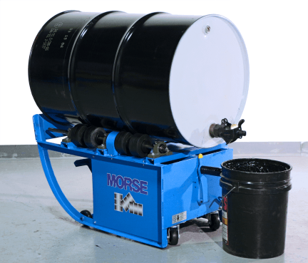 Dispense into a 5-gallon pail with drum on a Portable Drum Mixer