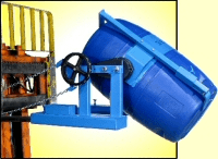 Forklift attachment with option to handle plastic drum. Also recommended for cardboard drum lifting.