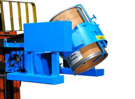 Forklift attachment with optional Diameter Adaptor for smaller drum.