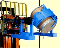 Forklift attachment with Diameter Adaptor for smaller drum