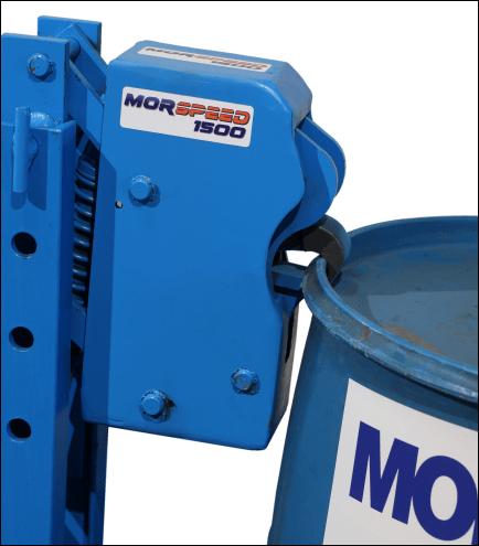 MORSPEED Jaws grip the upper rim of a steel, plastic or fiber drum