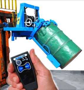 Forklift mounted drum racker with optional wireless drum tilt control