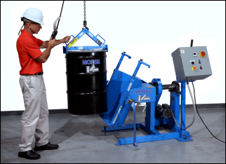 Load a drum onto a Morse Drum Tumbler with model 92 Drum Lifter and your crane