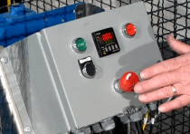 Emergency stop on optional Automated controls for drum tumbler