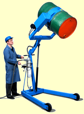 Hydra-lift drum carrier with air power lift and tilt
