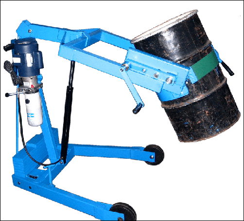 Custom Hydra-Lift Karrier drum handler with counter weight and extended reach to pour beyond front wheels