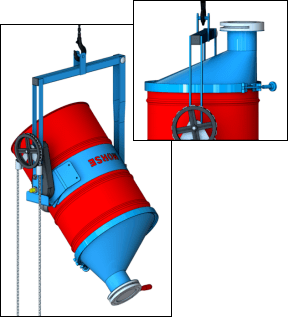 Asymmetric Drum Cone with slide gate valve - Morse model # 5-SG-90-23