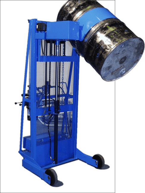 Custom Vertical-Lift Drum Pourer with counterweight to enable pouring beyond shorter legs