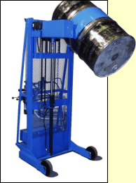 Custom Vertical-Lift Drum Pourer with counter weight to pour beyond shorter legs