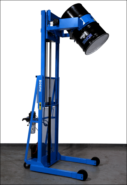 "Two-stage Vertical-Lift Drum Pourers dispense at up to 106"" high"