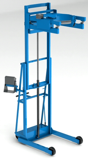 "Two-Stage Scale-Equipped Vertical-Lift Drum Pourer - Weigh drum while pouring up 106"" high"