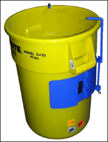 Custom adaptor to securely hold a 44-gallon Brute container