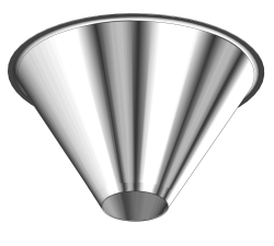 "Stainless Steel Drum Cone with 6"" discharge opening"
