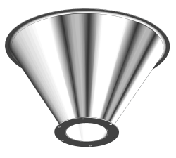 Stainless Steel Drum Cone with flange to attach Iris Valve or Slide Gate
