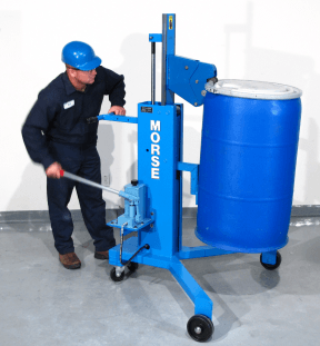 Model 82H drum transporter to lift and move a rimmed upright drum on and off pallets.