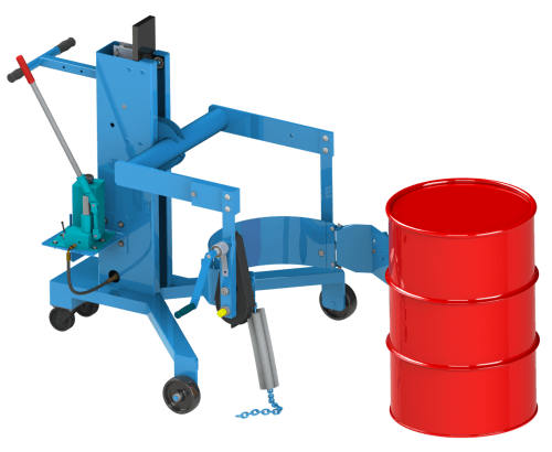 Load upright drum from the floor or on a pallet