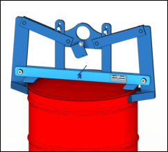 Custom below-the-hook drum lifter for 2000 Lb. drum