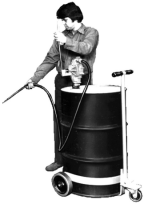 Model 125 No-Spill Drum Truck being used with drum pump
