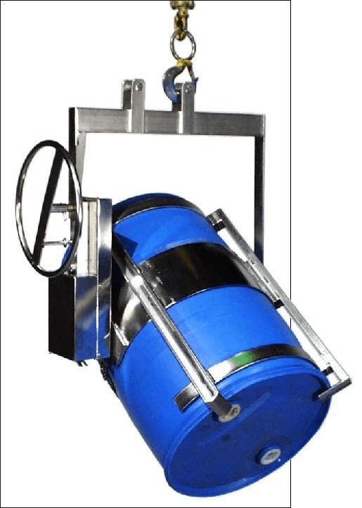 Custom stainless steel below-hook drum carrier for 55-gallon steel or plastic drum