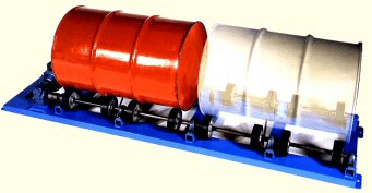 Stationary Drum Rollers to Mix Contents of a Sealed Drum