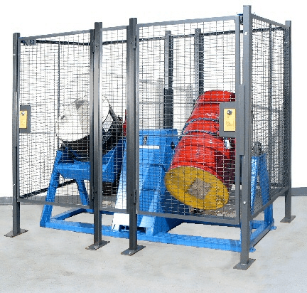 Cage with safety interlock for Morse End-Over-End Drum Rotator - drum tumbler