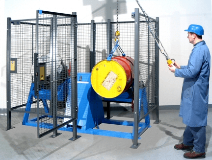 Load drum into enclosure with your crane or hoist