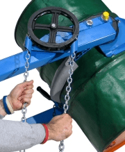 Chain wheel for drum tilt control on hydra-lift drum dumpers