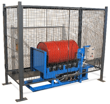 Enclosure with Safety Interlock shown with a drum on the Hydra-Lift Drum Rotator.