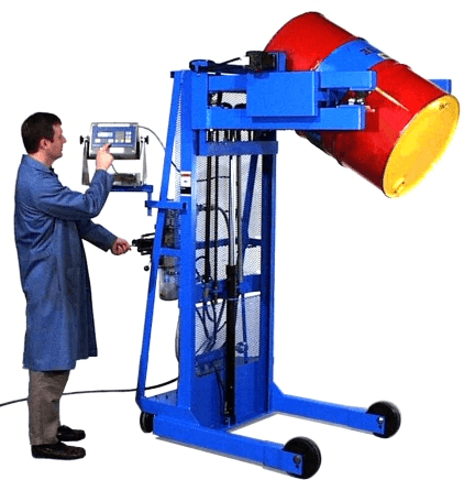 Scale-Equipped Vertical-Lift Drum Pourer