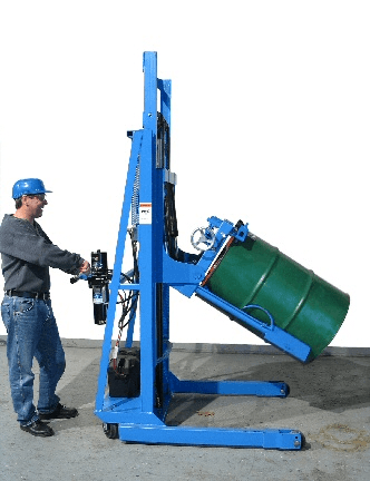 Tilt drum to racking position with MORStak drum racker.