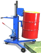 Model 82H drum mover to lift an upright drum on and off pallets.