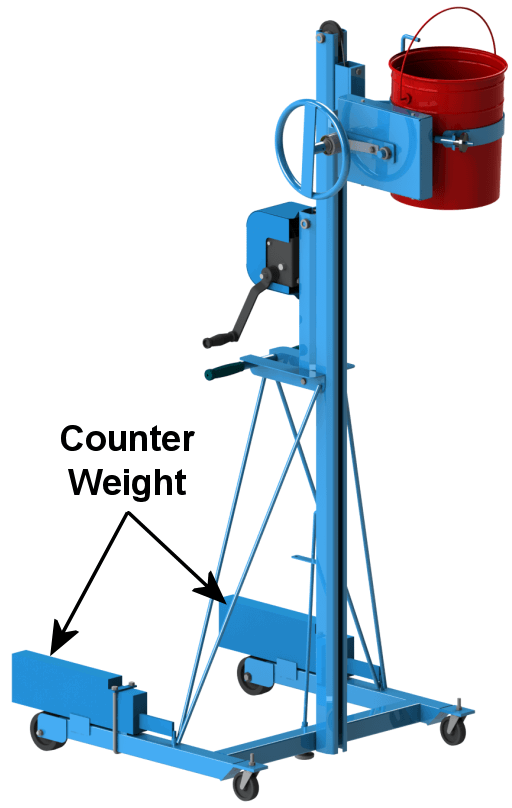 5-Gallon Pail Handler shown with counter weight installed