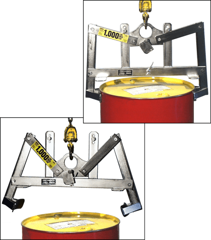 Stainless Steel Verti-Karrier - Below hook drum lifter.