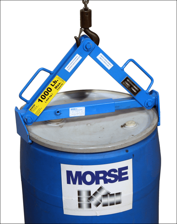 Model 92 Drum Lifter shown lifting a 55-gallon plastic drum