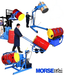 Drum handling equipment to lift, move, dispense, rack, stack, rotate, palletize, heat, and weigh drums.