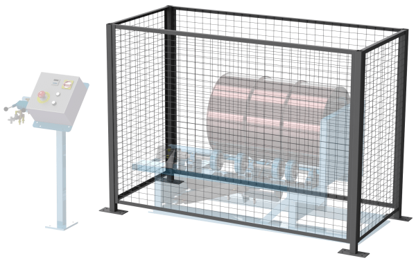 Safety enclosure with interlock for Tilt-To-Load Drum Tumbler