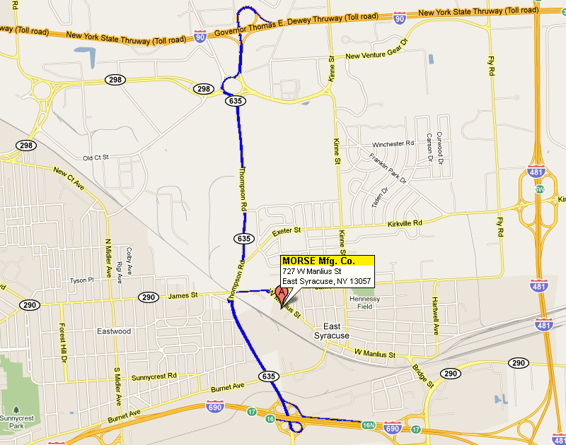 MAP with Directions to Morse Mfg.