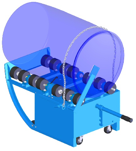 Option POLY-201 to roll a 55-gallon plastic drum on a portable drum mixer