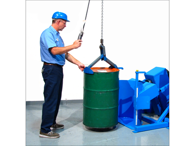 Loading a model 310-3 Drum Tumbler with a below-hook drum lifter