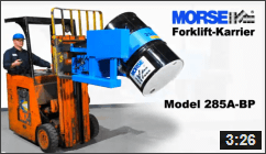 Video of Forklift-Karrier with Battery Power Drum Tilt